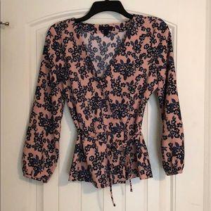J.Crew pink floral peplum blouse